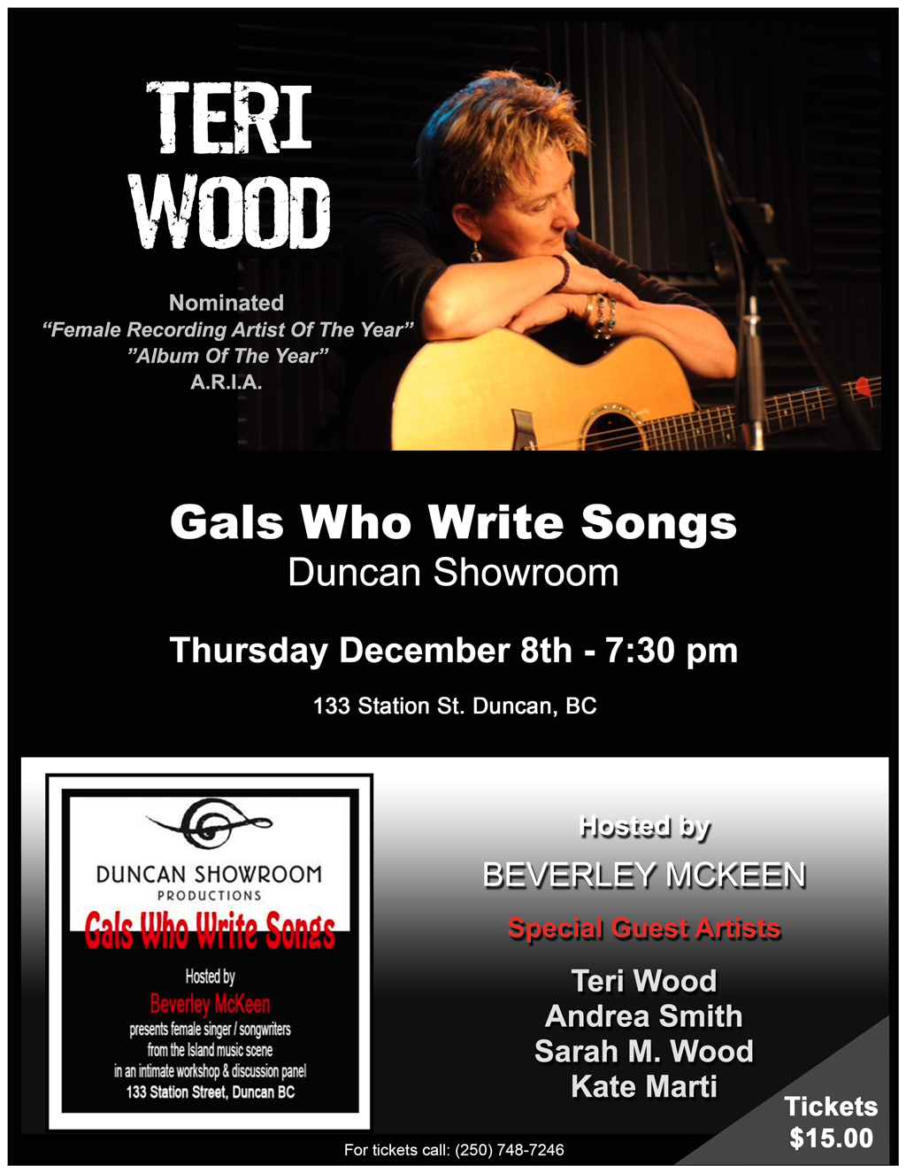 Duncan Showroom Concert featuring Nominated Recording Artist Teri Wood Sold Out