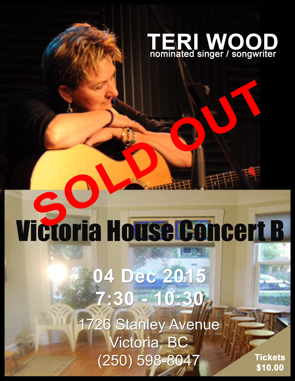 Victoria House Concert B featuring Nominated Recording Artist Teri Wood Sold Out