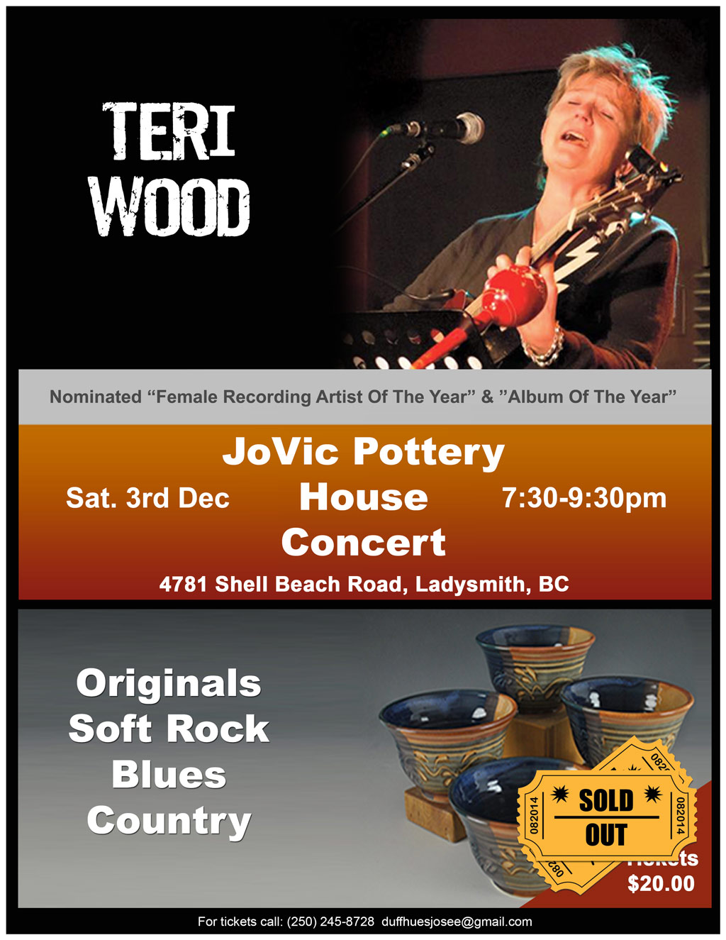 JoVic Pottery House Concert featuring Nominated Recording Artist Teri Wood Sold Out