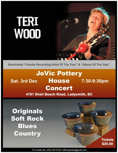 JoVic Pottery House Concert B featuring Nominated Recording Artist Teri Wood